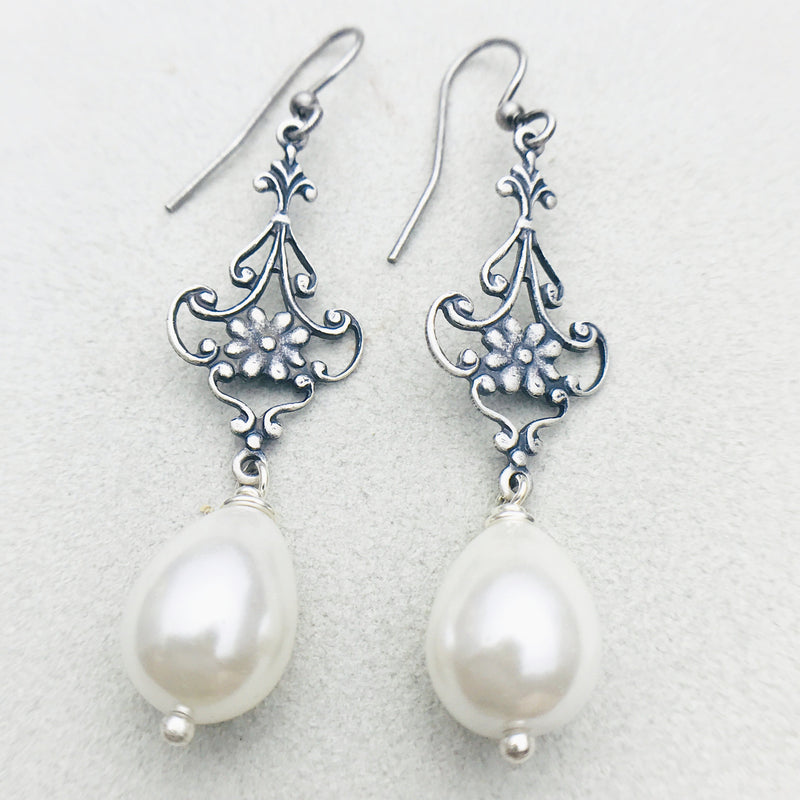 Gabriela Vintage Silver and White Mother of Pearl Drop Earrings