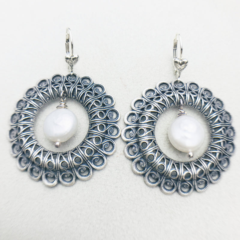 Daphne Vintage Silver Hoop and White Mother of Pearl Drop Earrings