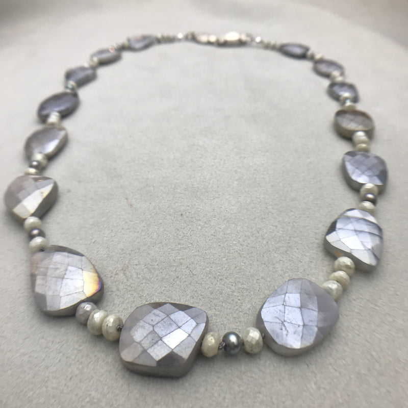 Moonstone & White Sapphire Necklace