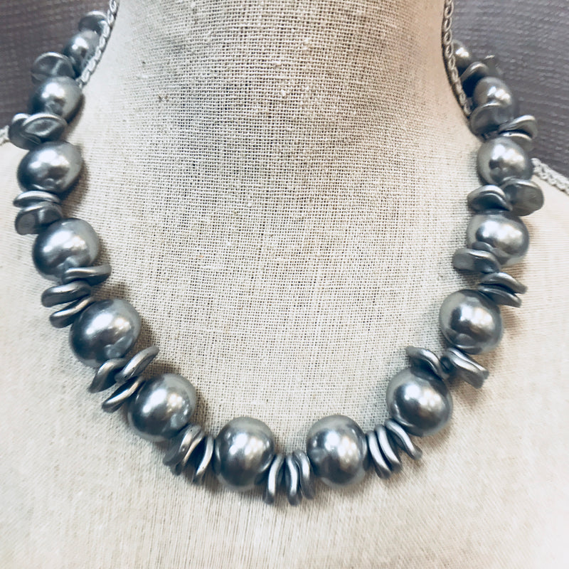 Chrome Mother of Pearl Necklace