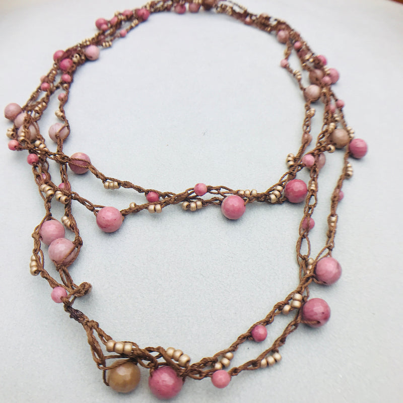 Boho Chic Pink Rhodochrosite Necklace