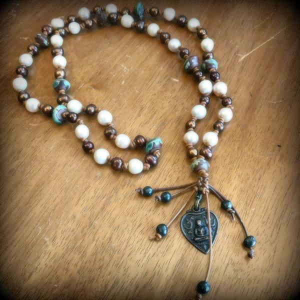 Leather and Pearl Beaded Boho Necklace