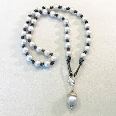 Silver Pearl & Drop Necklace