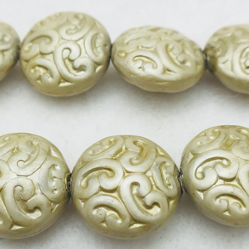 Button Coin Czech Beads, Sage Luster 13mm