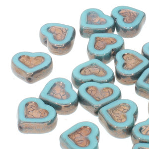 Czech Glass Beads Table Cut Heart Turquoise Bronze