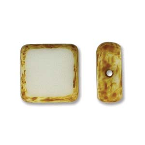 Czech Glass Beads Table Cut Square White Picasso