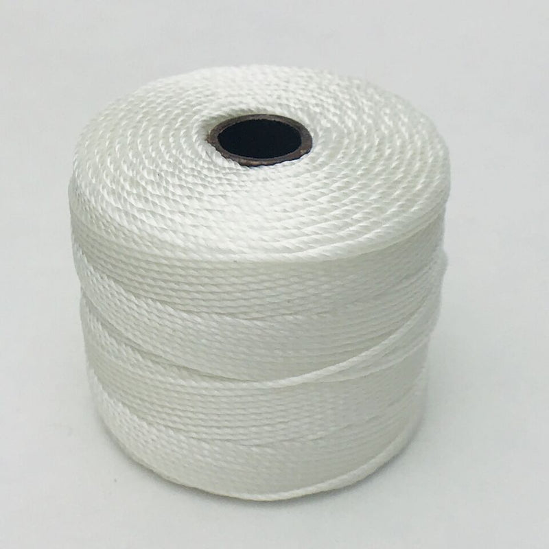 S-Lon Bead Cord, White, 77 yards