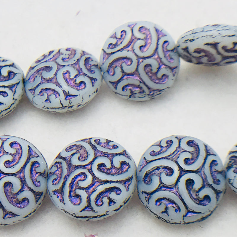 Button Coin Czech Beads,White Opal Purple 13mm