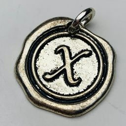 Letter X Coin Charm, Silver