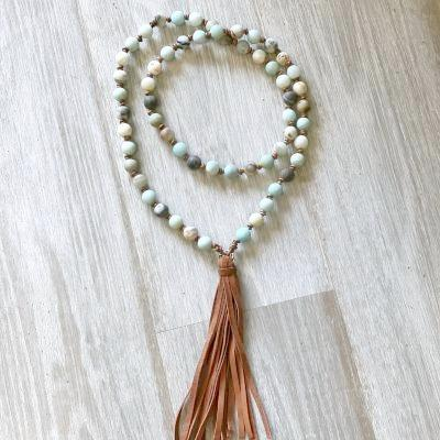 Long Amazonite and Leather Knotted Tassel Necklace
