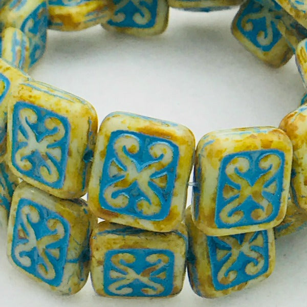 Ornamental Rectangle Czech Glass Bead 12x11 Beige Turquoise