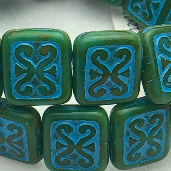 Ornamental Rectangle Czech Glass Bead 12x11 Green Turquoise