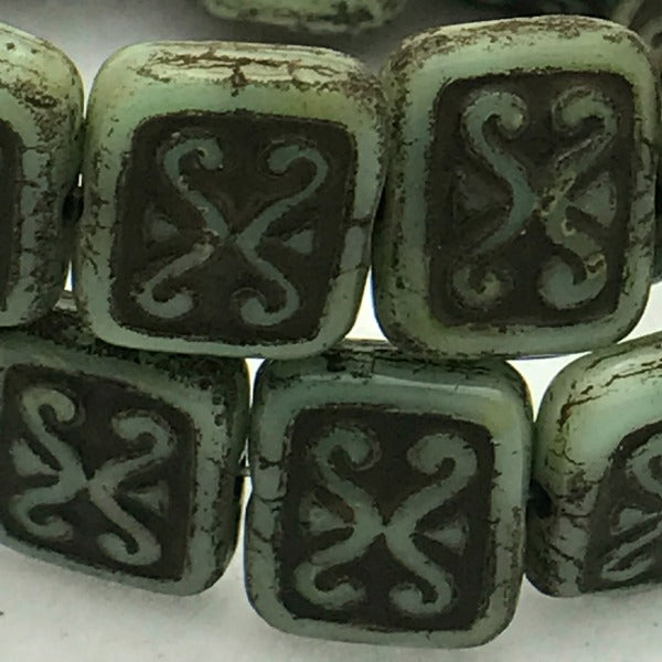 Ornamental Rectangle Czech Glass Bead 12x11 Green with Brown
