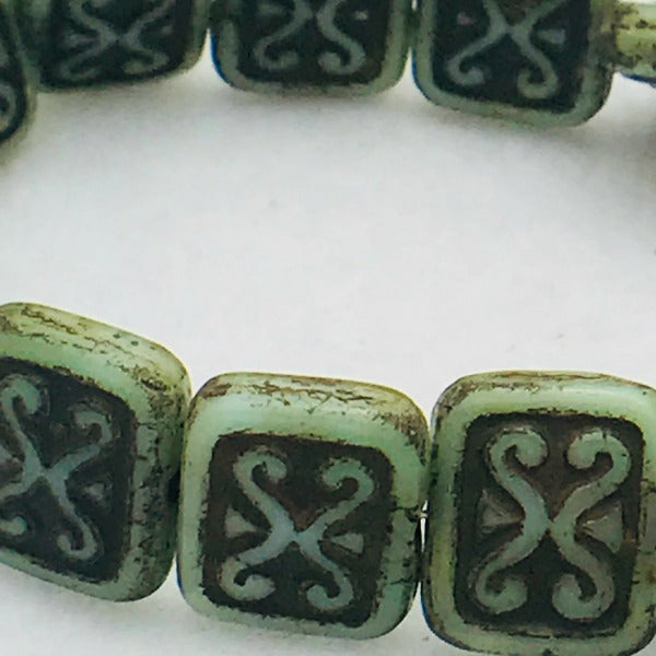 Ornamental Rectangle Czech Glass Beads 12x11mm Green with Brown