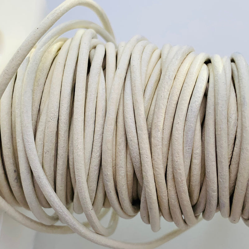 Matte White Leather Cord 1.5mm, 1 Yard