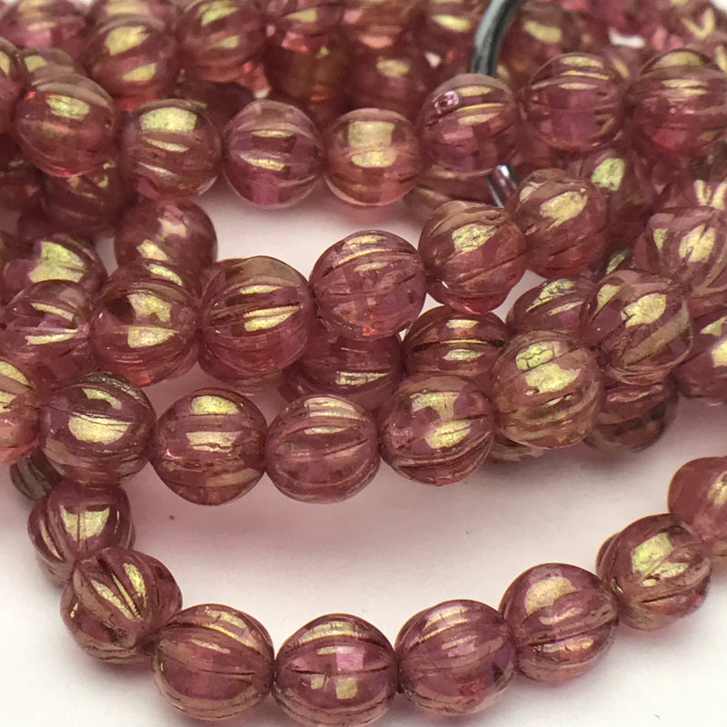 Melon Czech Glass Beads Pink with Golden Luster 6mm