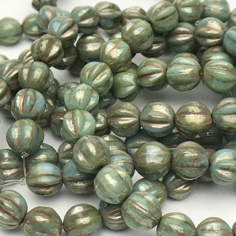 Melon Czech Glass Beads Fern Coral with Picasso 6mm