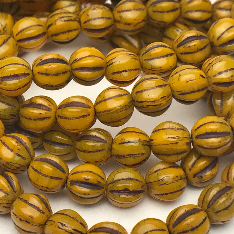 Melon Czech Glass Beads Yellow Gold with Brown Wash 6mm