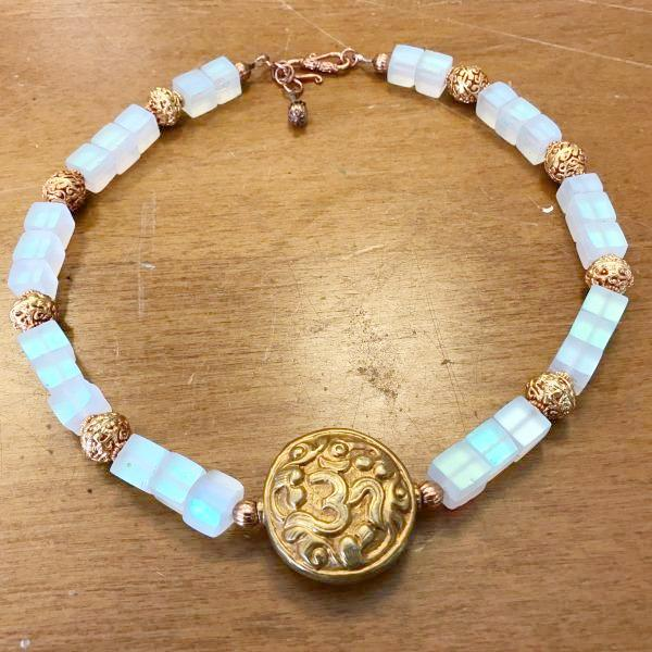 Lucite and Tibetan Copper Bead Necklace