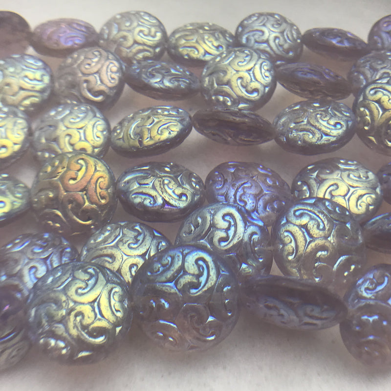 Button Coin Czech Beads, Transparent Light Amethyst 2AB 13mm