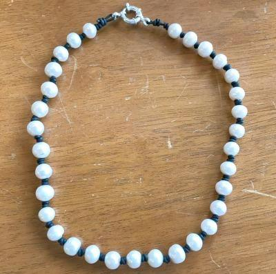 White Pearl Leather Necklace