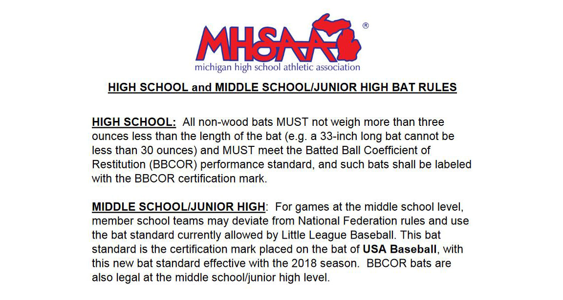 2019 Michigan Middle School Baseball Bat Changes – Diamond Sport Gear
