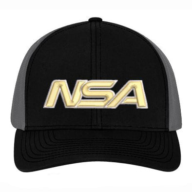 Pacific Headwear NSA Black / Graphite Snapback Hat: 104C-BKGR-VG