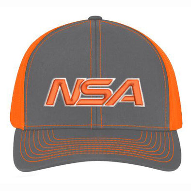 Pacific Headwear NSA Neon Orange / Graphite Snapback Hat: 104C-NOGR
