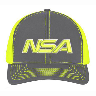 Pacific Headwear NSA Neon Yellow / Graphite Snapback Hat: 104C-NYGR