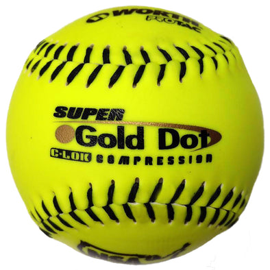 "Worth NSA Super Gold Dot ICON 12"" 44/400 Synthetic Slowpitch Softballs (Dozen): NI12SY"