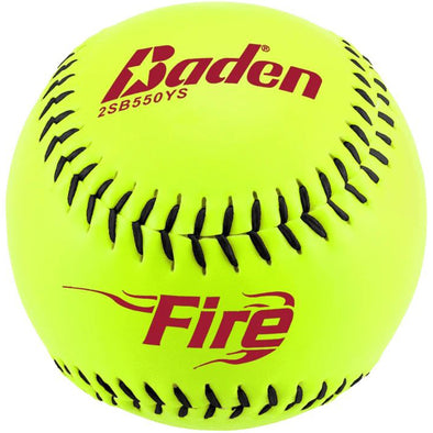 "Baden Fire 12"" 47/375 Synthetic Slowpitch Softballs: 2SB550YS"