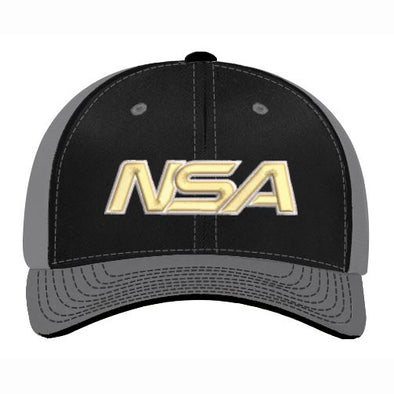 Pacific Headwear NSA Black / Graphite Flex Fit Hat: 404M-BKGR-VG