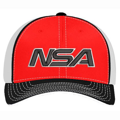 Pacific Headwear NSA Red / Black Flex Fit Hat: 404M-RDBK