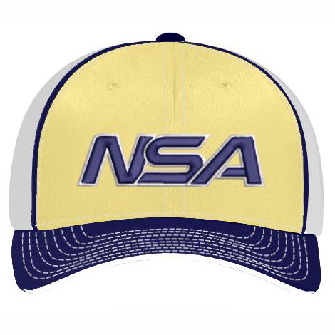 Pacific Headwear NSA Vegas Gold / Navy Flex Fit Hat: 404M-VGNV