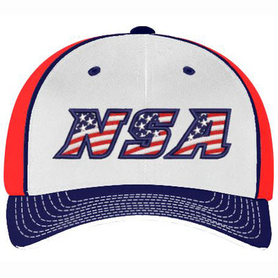 Pacific Headwear NSA White / Navy / Red USA Flex Fit Hat: 404M-WNR