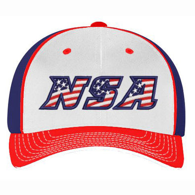 Pacific Headwear NSA White / Red / Navy USA Flex Fit Hat: 404M-WRN