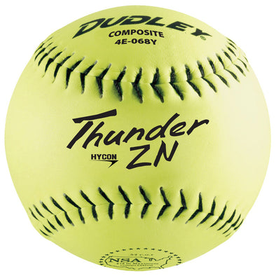 "Dudley NSA Thunder ZN Hycon 12"" 52/275 Composite Slowpitch Softballs (Dozen): 4E-068Y"