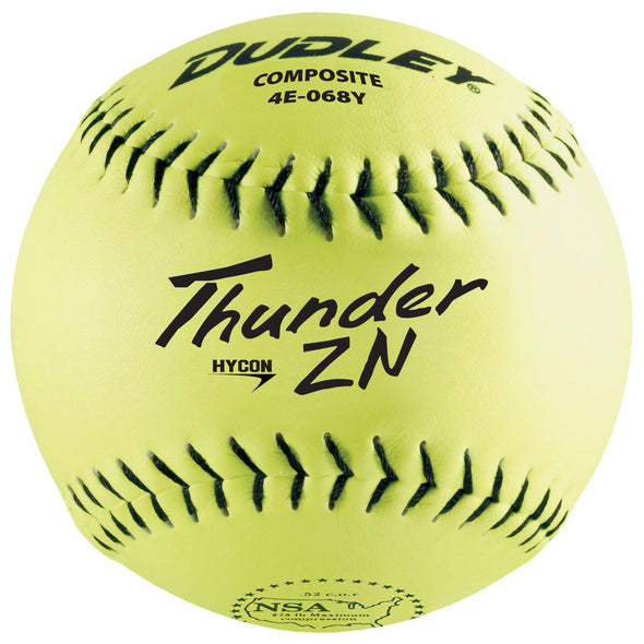 "Dudley NSA Thunder ZN Hycon 12"" 52/275 Composite Slowpitch Softballs: 4E-068Y"