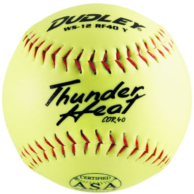 "Dudley ASA Thunder Heat 12"" 40/375 Synthetic Slowpitch Softballs: 4A-244Y"
