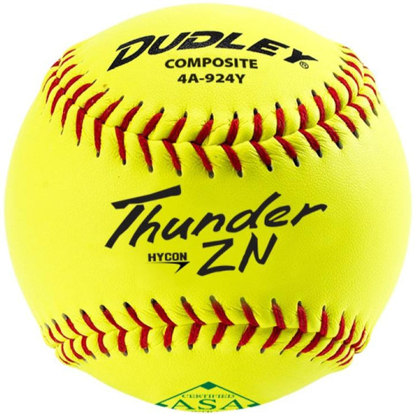 "Dudley ASA Thunder ZN Hycon 11"" 52/300 Composite Slowpitch Softballs: 4A-924Y"