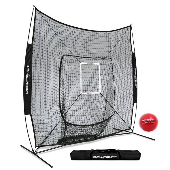 PowerNet 7' x 7' DLX Hitting Net & 1 Weighted Ball: 1009