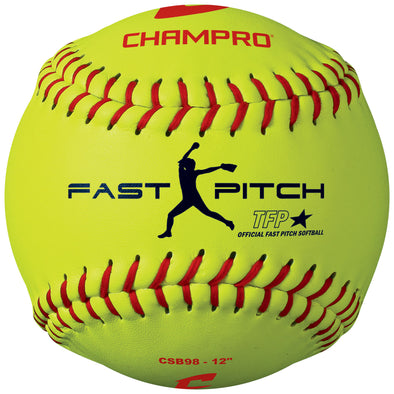 "Champro 12"" 47/375 Practice Leather Fastpitch Softballs: CSB98"