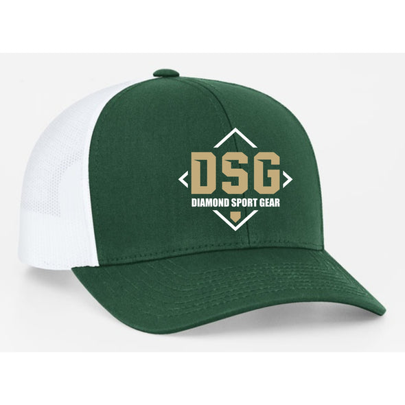 Diamond Sport Gear Dark Green / White Snapback Hat: 104C-DKGW