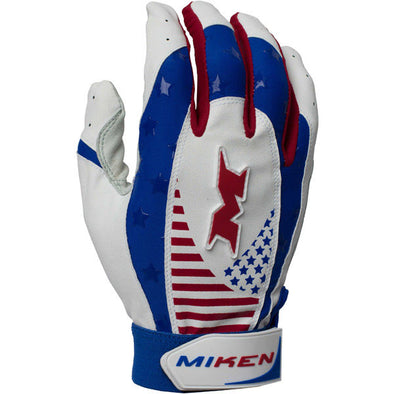 Miken Pro Adult Batting Gloves: MIKPRO-RWB