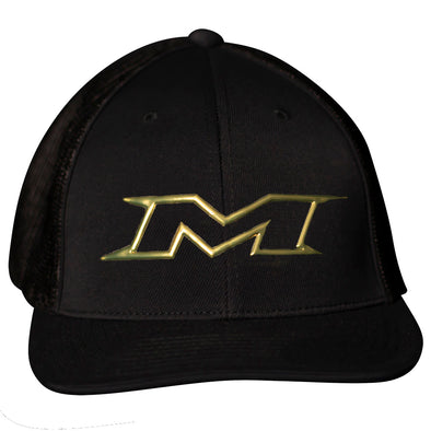 Miken Gold Limited Edition 404M Mesh Trucker Flex Fit Hat: MTRUCK-FGBLK