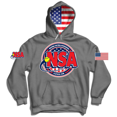 National Softball Association (NSA) USA Flag Graphite Hoodie