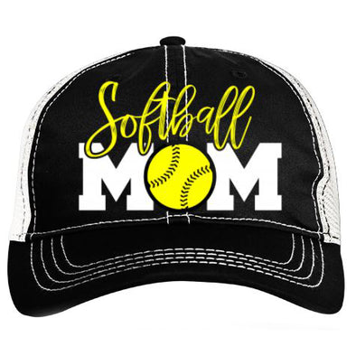Pacific Headwear Softball Mom Vintage Trucker Snapback Hat: V67BW