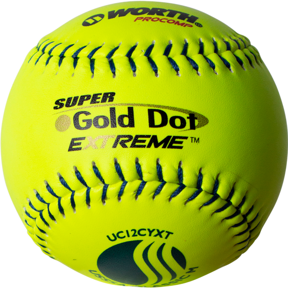 "Worth USSSA Super Gold Dot Extreme Classic M 12"" 40/325 Composite Slowpitch Softballs: UC12CYXT"