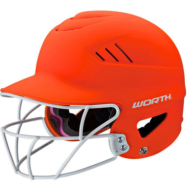 Worth Highlighter 60MPH Matte Batting Helmet with Fastpitch Mask: WHL60FGM