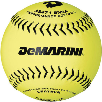 "DeMarini NSA ICON 12"" 44/400 Leather Slowpitch Softballs (Dozen): WTA9471BNSA"